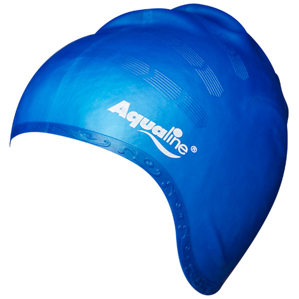 Aqualine Elite Long Hair Silicone Swimming Cap Blue