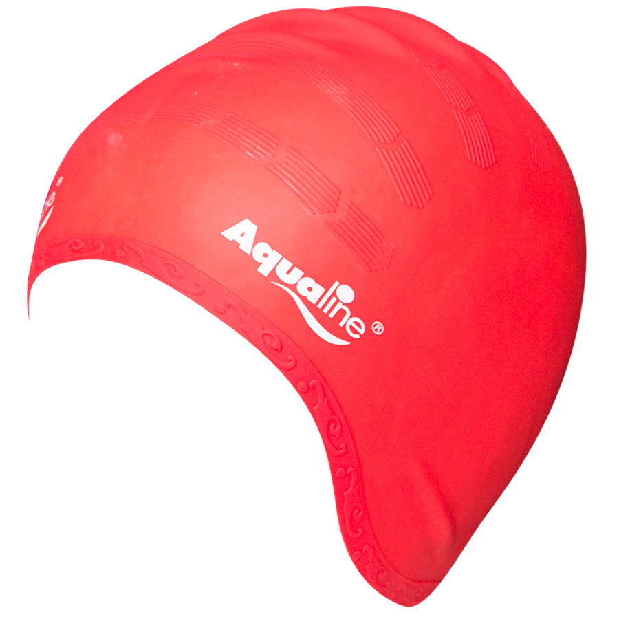 Aqualine Elite Long Hair Silicone Swimming Cap Red