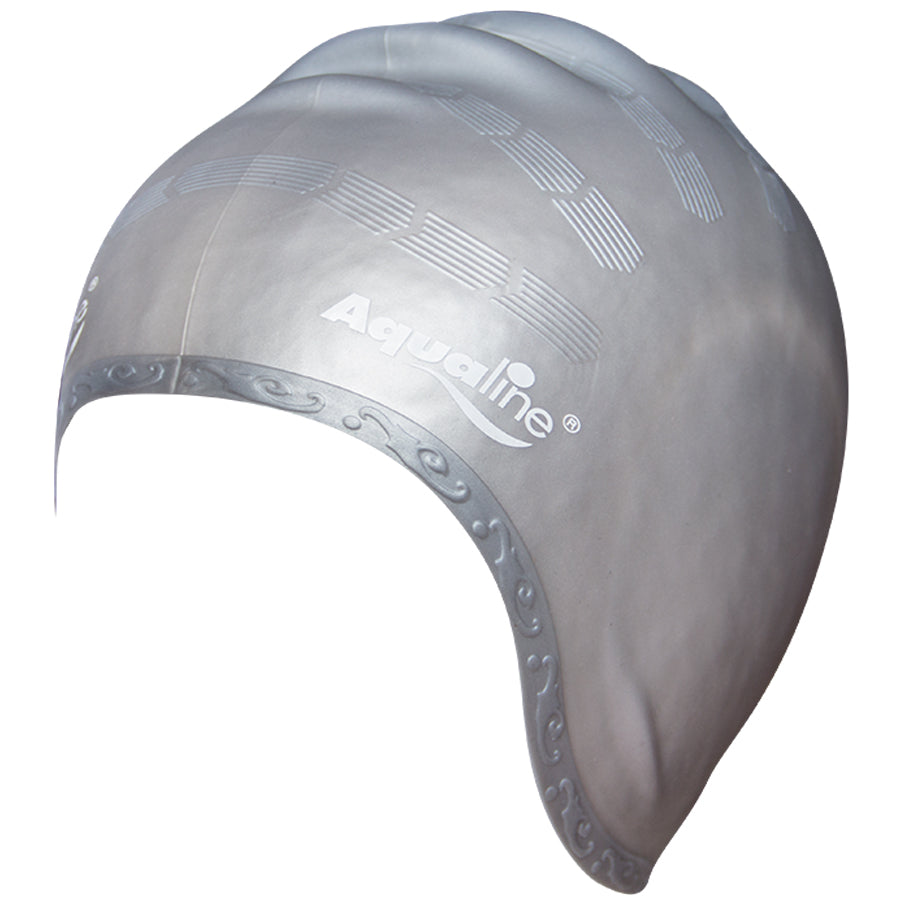Aqualine Elite Long Hair Silicone Swimming Cap Silver