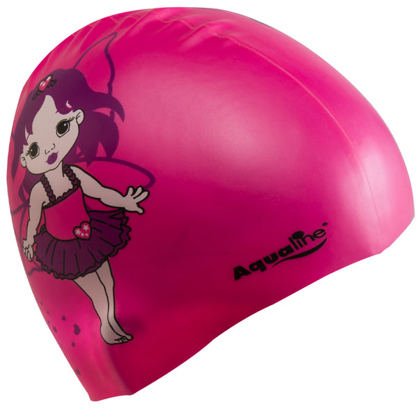 Aqualine Fairy Princess Silicone Swimming Cap Pink with image of fairy on it.