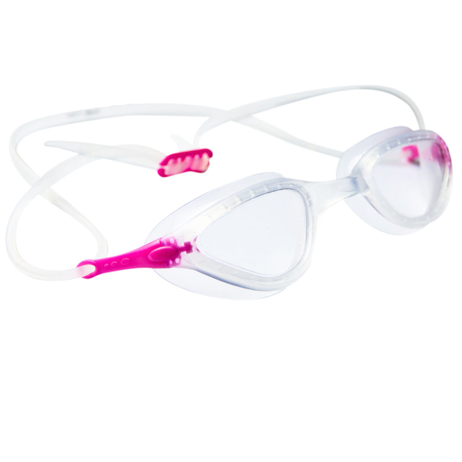 Aqualine Faze Swimming Goggle Clear strap, Clear lens, clear frame with Pink highlights