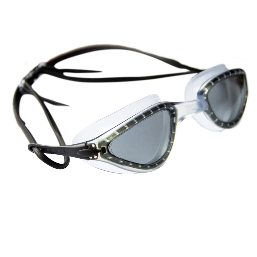 Aqualine Faze Swimming Goggle Black strap, smoke lens, clear frame.