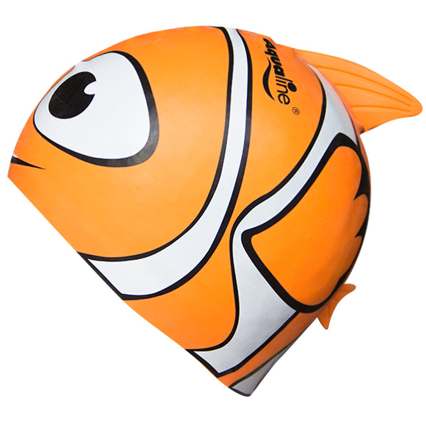 Aqualine Fish Childrens Silicone Swimming Cap Orange