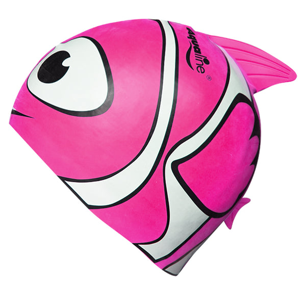 Aqualine Fish Childrens Silicone Swimming Cap Pink