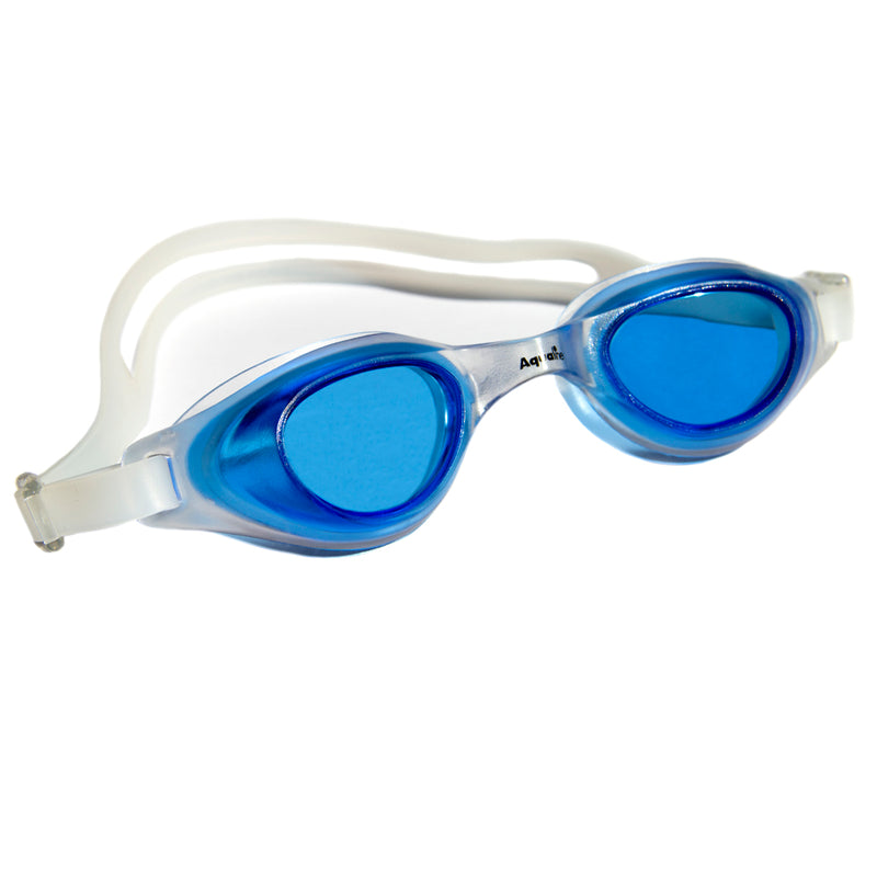 Aqualine Focus Swimming Goggles Blue lens with Clear frame and strap