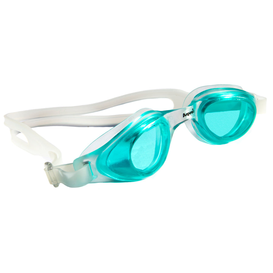 Aqualine Focus Swimming Goggles Green lens with Clear frame and strap