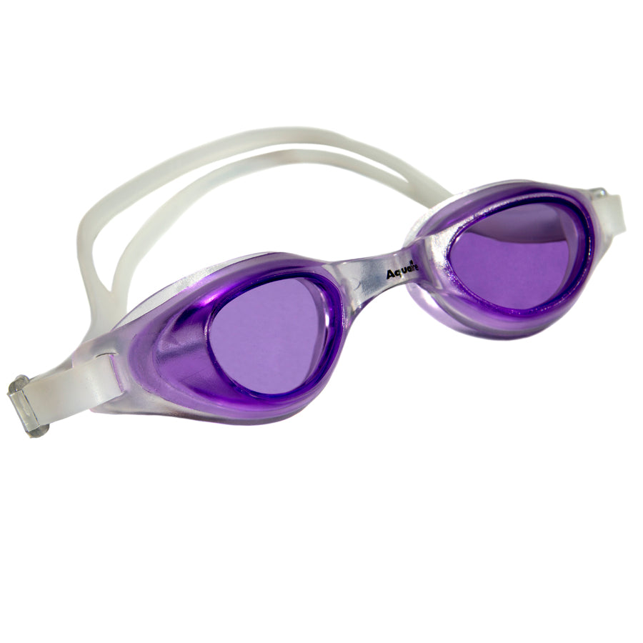Aqualine Focus Swimming Goggles Purple lens with Clear frame and strap