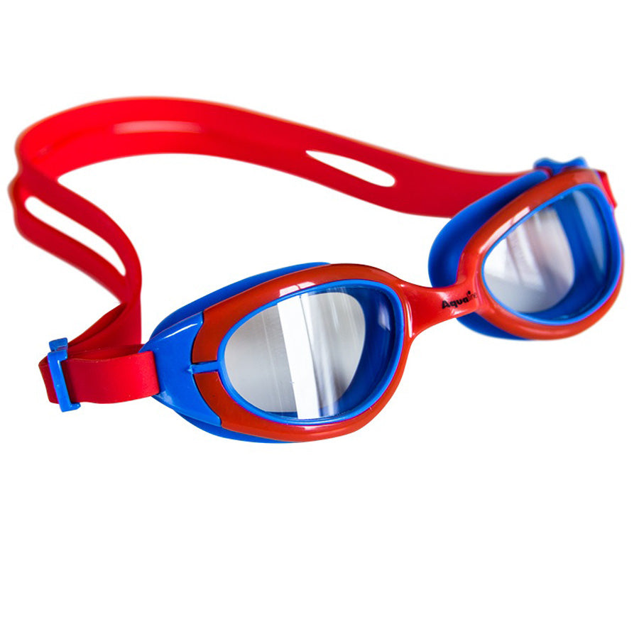 Aqualine Funkies Childrens Swimming Goggles Red Frame, with Red Strap, and Blue Silicone Eye mould. Clear Lens.