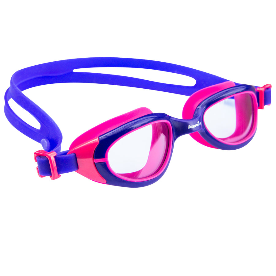 Aqualine Funkies Childrens Swimming Goggles Purple Frame, with Purple Strap, and Pink Silicone Eye mould. Clear Lens.