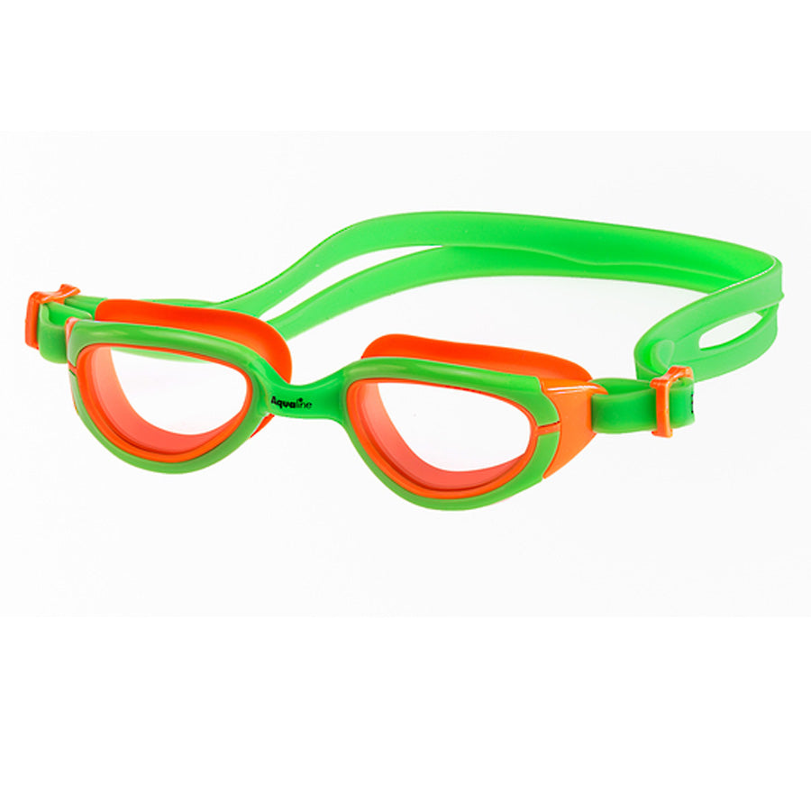 Aqualine Funkies Childrens Swimming Goggles Green Frame, with Violet Strap, and Orange Silicone Eye mould. Clear Lens.