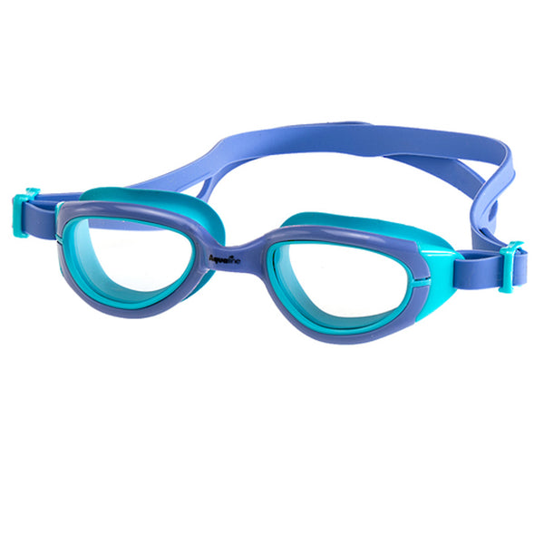 Aqualine Funkies Childrens Swimming Goggles Violet Frame, with Violet Strap, and Sky Blue Silicone Eye mould. Clear Lens.