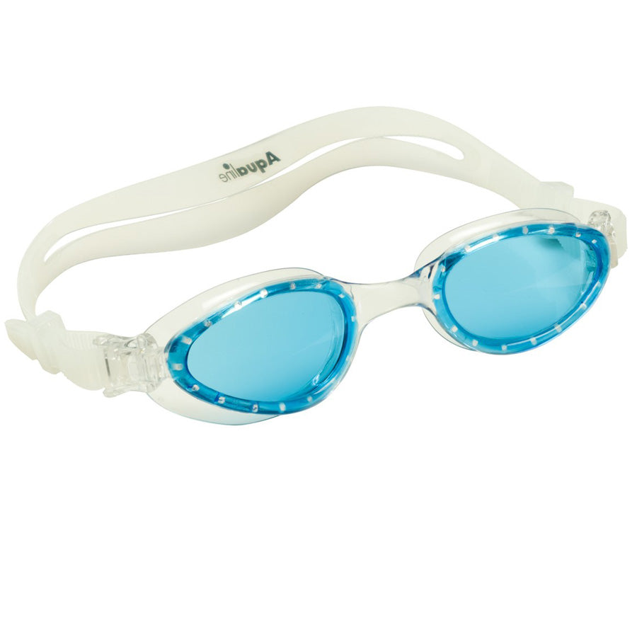 Aqualine Hi-Viz Adults Swimming Goggle wide angle lens, with Clear frame and strap, and blue lens.