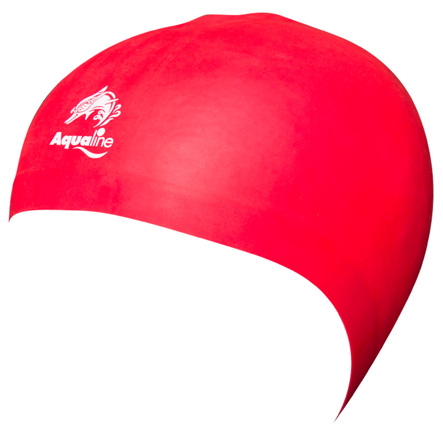 Aqualine Hydra-Seamless Silicone Swimming Caps Red