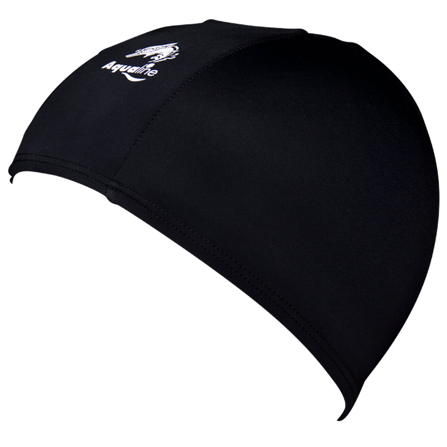 Aqualine Childrens Junior Lycra Swimming Cap Black