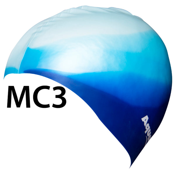 Aqualine Multi-Colour Silicone Swimming Cap with different shades of blue.