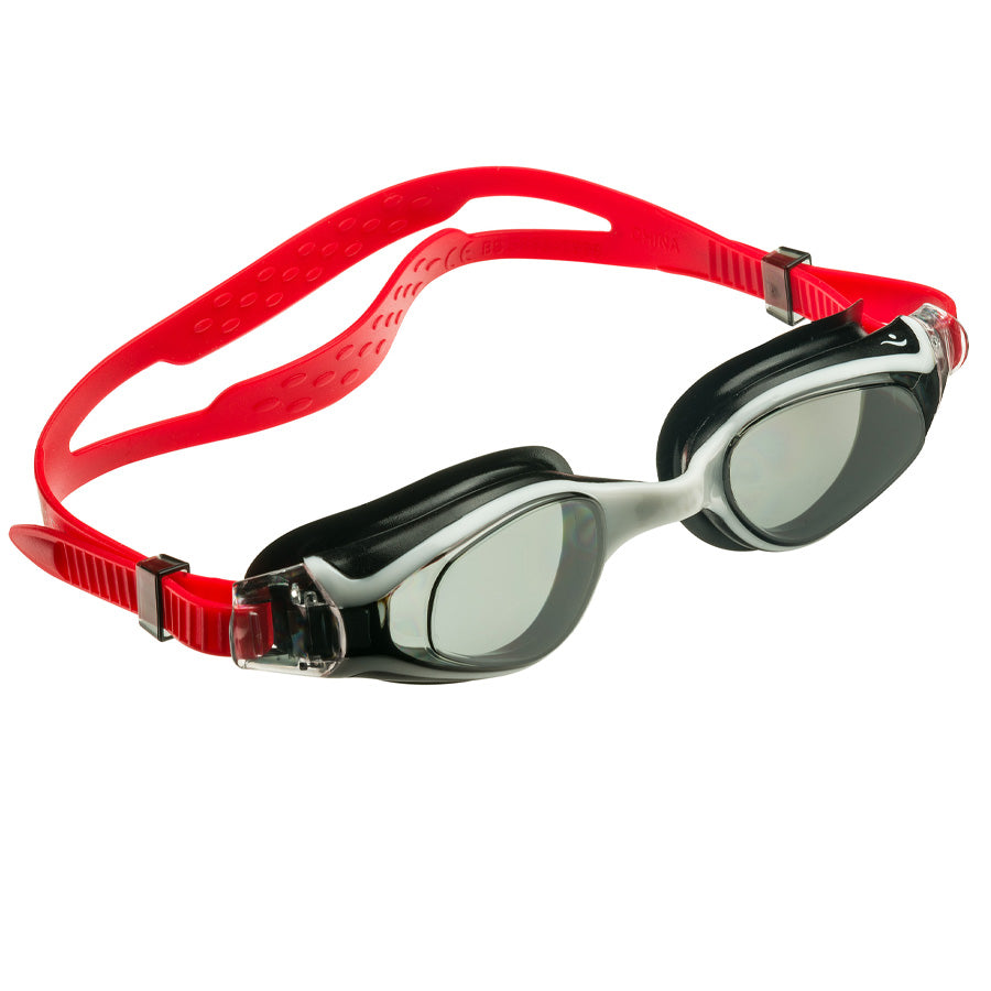Aqualine Medley Youth Adult Swimming Goggles with Red Strap, Black and White frame, and tinted lens.
