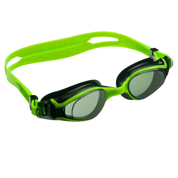 Aqualine Medley Youth Adult Swimming Goggles with Green Strap, Black and Green frame, and tinted lens.