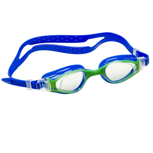 Aqualine Medley Junior Childrens Swimming Goggle with Blue Strap and Green Frame. Clear Lens.