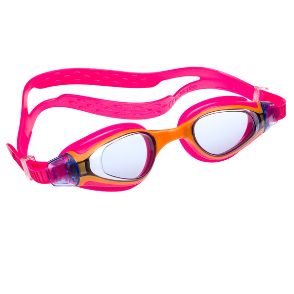 Aqualine Medley Junior Childrens Swimming Goggle with Pink Strap and Yellow Frame. Tinted Lens.