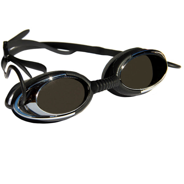 Aqualine Metallix Adults Swimming Goggle. Black Silicone strap and eye piece. Black flexible Silicone nose piece. Mirrored Black Lens.