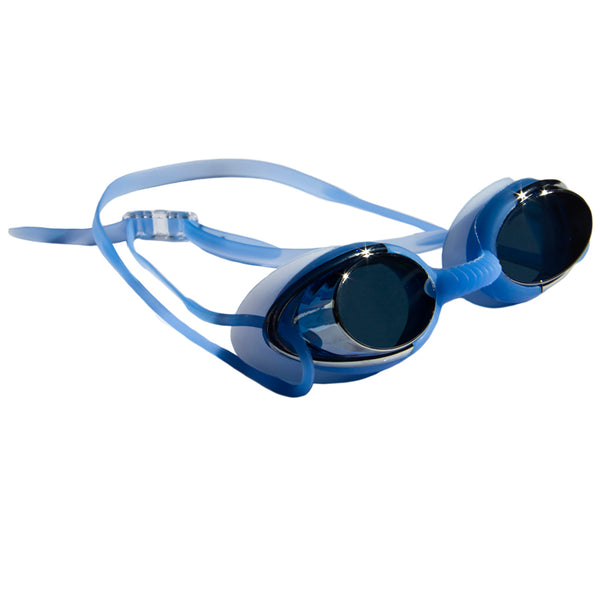 Aqualine Metallix Adults Swimming Goggle. Blue Silicone strap and eye piece. Blue flexible Silicone nose piece. Mirrored Blue Lens.