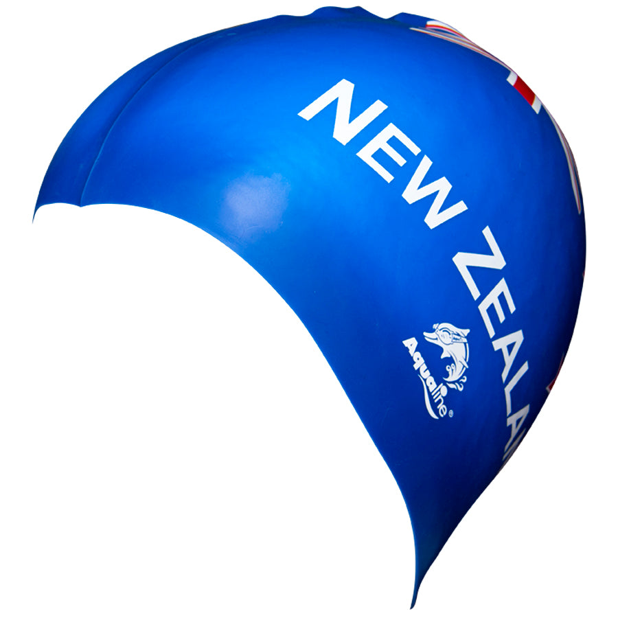Aqualine NZ Flag Silicone Swimming Cap Blue Side View
