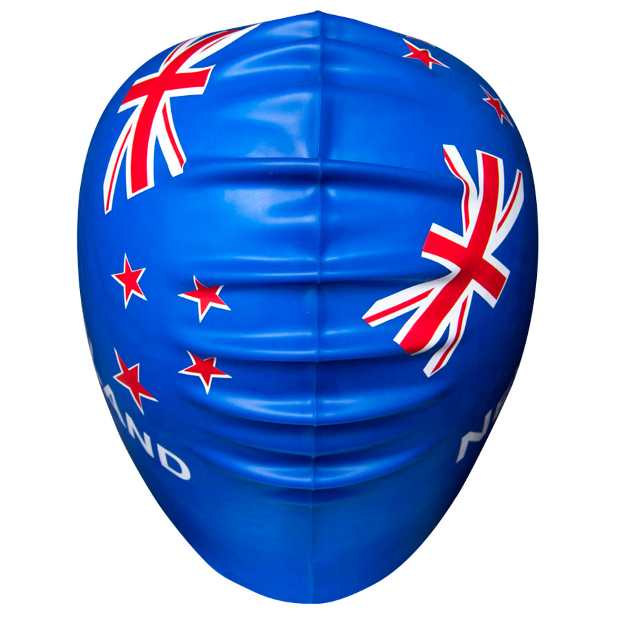 Aqualine NZ Flag Silicone Swimming Cap Blue Back View