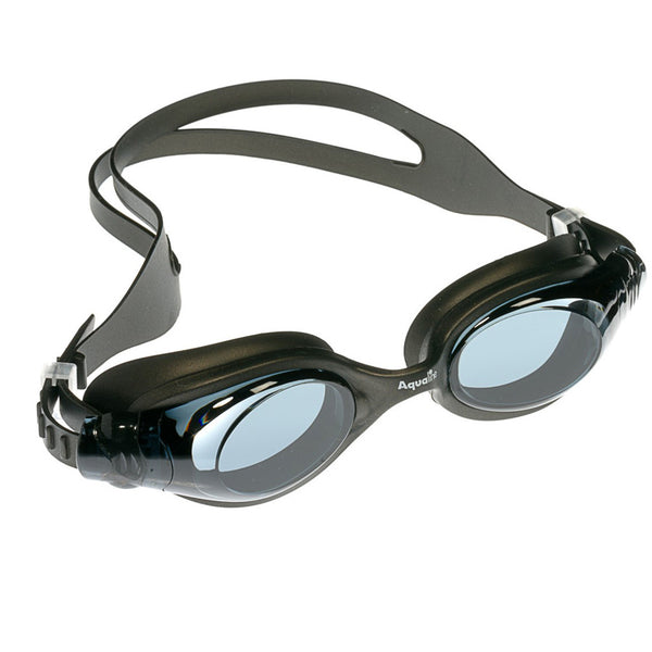Aqualine Oracle Youth Adult Goggle Black Silicone with Black Lens.