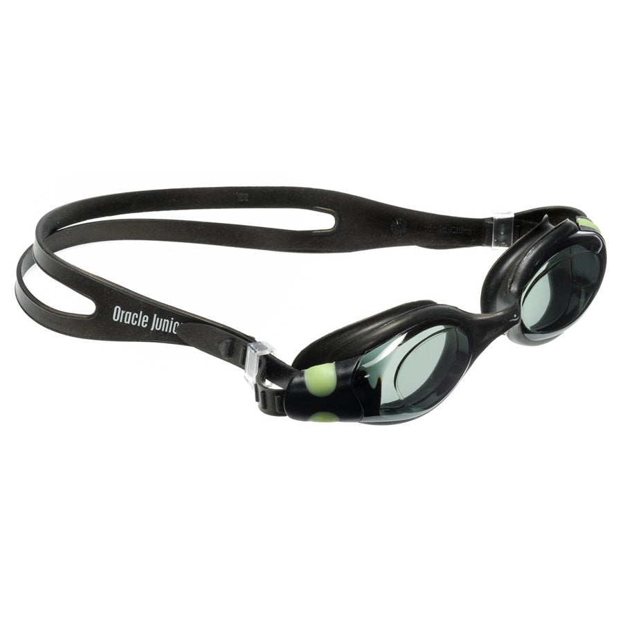 Aqualine Oracle Junior Childrens Goggle with Black Strap and Frame. Black Lens. Neon Green Clips.