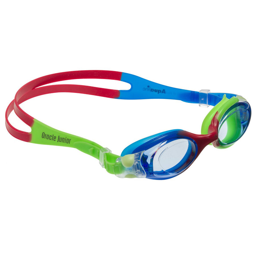 Aqualine Oracle Junior Childrens Goggle with Blue, Red, and Neon Green Strap and frame. Blue lens.