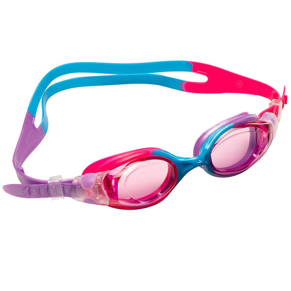 Aqualine Oracle Junior Childrens Goggle with Pink, Sky Blue, and Violet Strap and frame. Pink Lens.