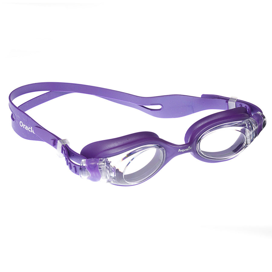 Aqualine Oracle Youth Adult Goggle Purple Silicone with Clear Lens.