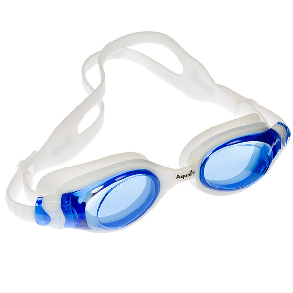 Aqualine Oracle Youth Adult Goggle White Silicone with Blue Lens.