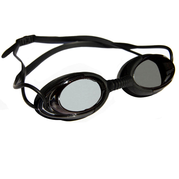 Aqualine Podz Adults Swimming Goggle with Black Frame, Black Strap, and Black lens.
