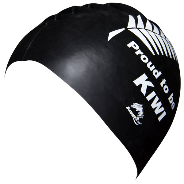 Aqualine Proud to be Kiwi Silicone Swimming Cap Black with white fern print side view