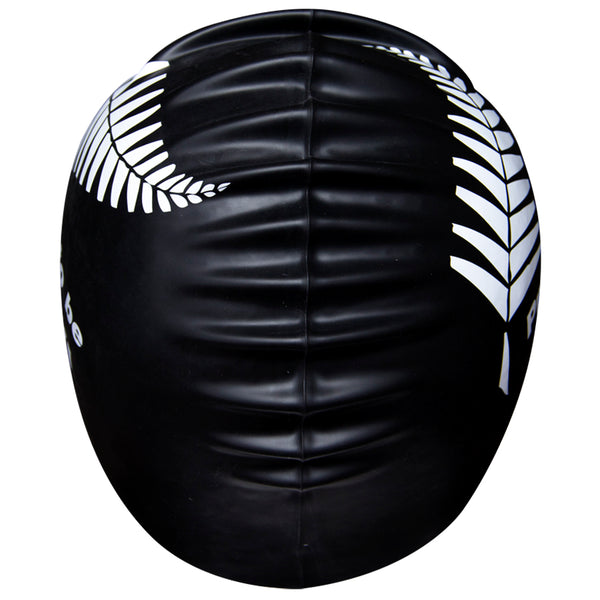 Aqualine Proud to be Kiwi Silicone Swimming Cap Black with white fern print back view