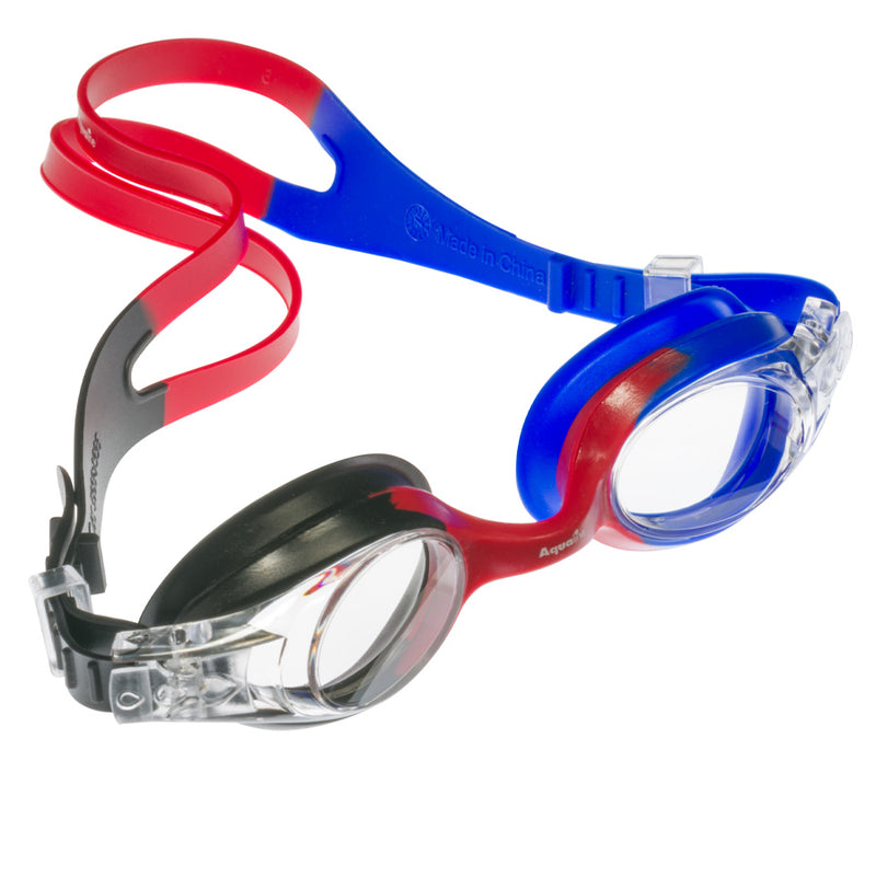 Aqualine Rainbow Childrens Goggle with Black, Red, and Blue Strap and frame. Clear Lens.