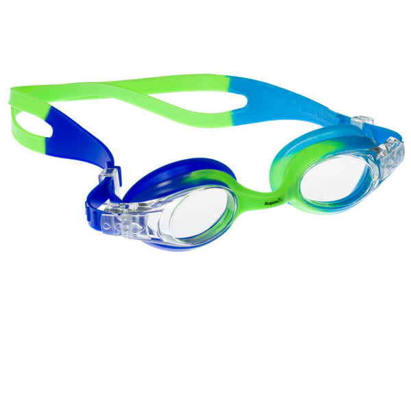Aqualine Rainbow Childrens Goggle with Neon Green, Sky Blue, and Blue Strap and frame. Clear Lens.