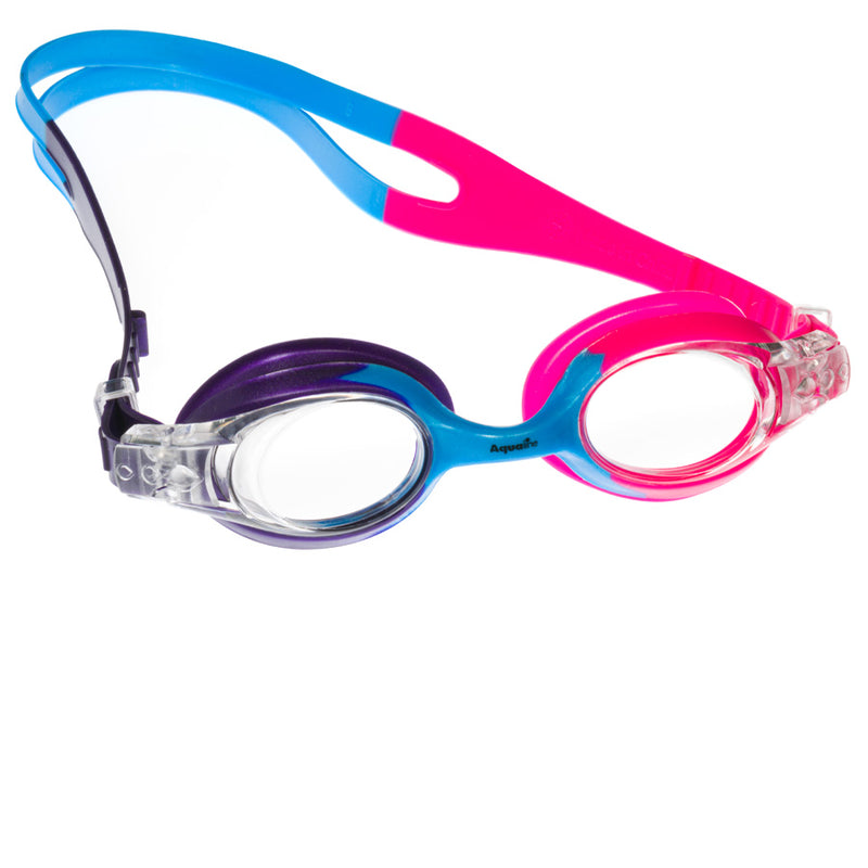 Aqualine Rainbow Childrens Goggle with Purple, Sky Blue, Pink Strap and frame. Clear Lens.