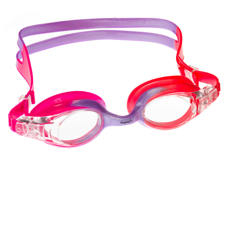 Aqualine Rainbow Childrens Goggle with Pink, Violet, and Coral Strap and frame. Clear Lens.