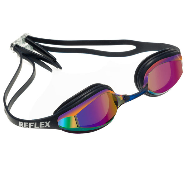 Aqualine Reflex Performance Swimming Goggle with Navy Strap and Frame, with mirrored lens.