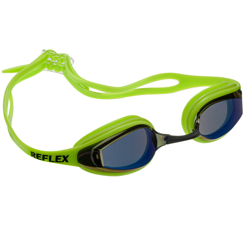 Aqualine Reflex Performance Swimming Goggle with Neon Green Strap and Frame, with mirrored lens.