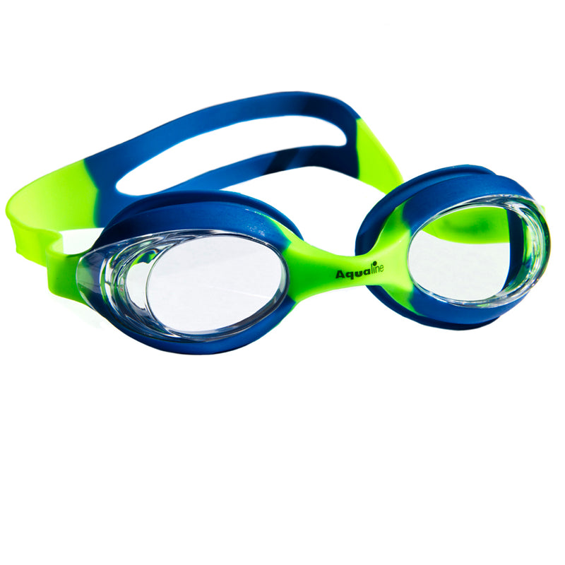 Aqualine Slingshot Childrens Swimming Goggle with Blue and Green Strap and Frame. Clear Lens.