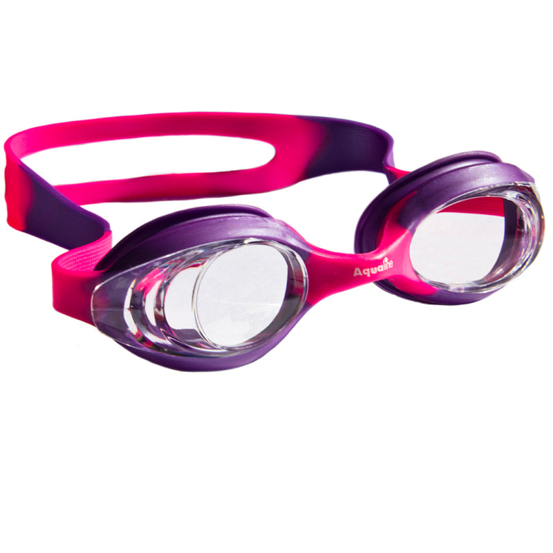Aqualine Slingshot Childrens Swimming Goggle with Pink and Purple Strap and Frame. Clear Lens.