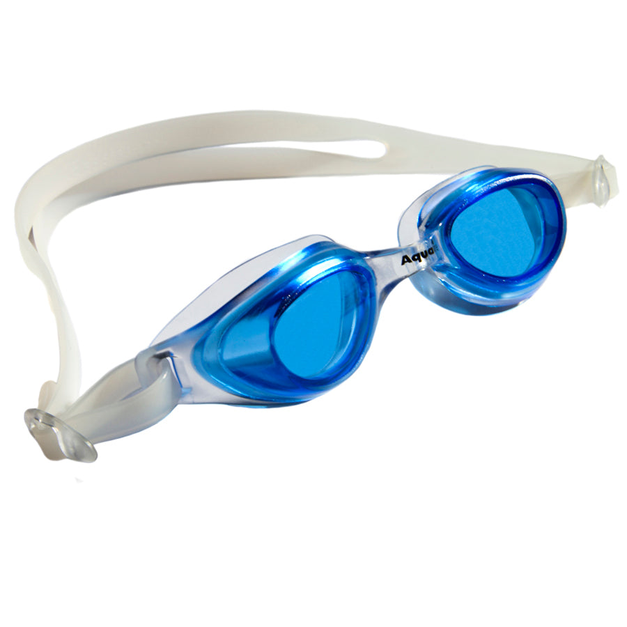 Aqualine Spratz Childrens Goggle Clear frame and strap with blue lens