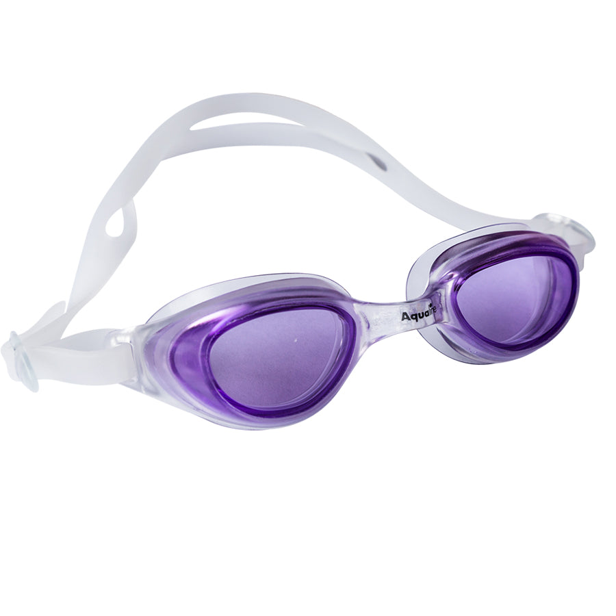 Aqualine Spratz Childrens Goggle Clear frame and strap with Purple lens