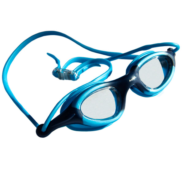 Aqualine Stingray Childrens Goggle with light blue and dark blue frame. Clear Lens.