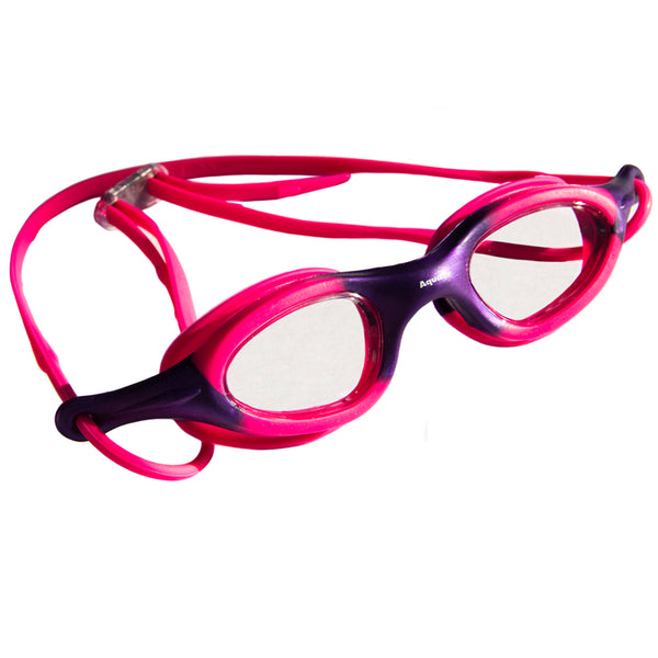 Aqualine Stingray Childrens Goggle with pink and purple frame. Clear Lens.