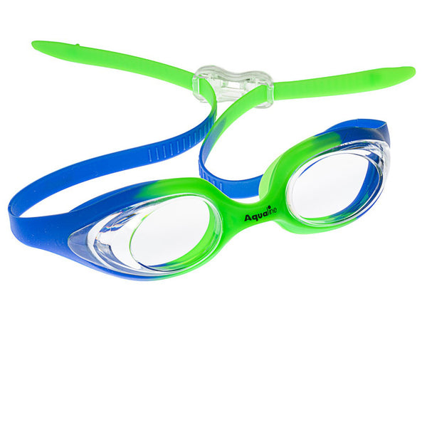 Aqualine Swish Childrens Swimming Goggle with Blue and Green Strap and Frame. Clear Lens.