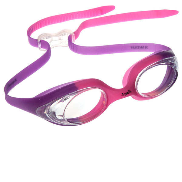 Aqualine Swish Childrens Swimming Goggle with Pink and Purple Strap and Frame. Clear Lens.